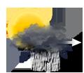 Pluie s'espaçant, ou averses