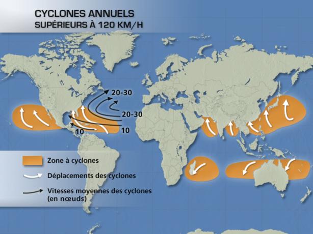 Actualité Météo : Cyclones : où et quand apparaissent ils ?   La