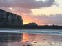 Coucher de soleil sur la falaise du Tr�port