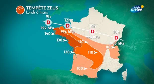 Tempête en Bretagne : trois lycéens blessés, plus de 190.000 foyers privés d'électricité