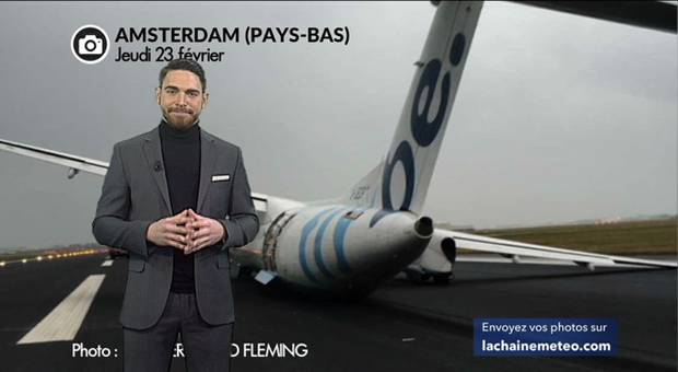 Vidéo Tempête : atterrissage raté aux Pays-Bas